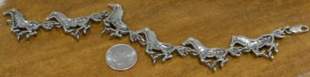 Sterling Silver Running Horses Bracelet with dime