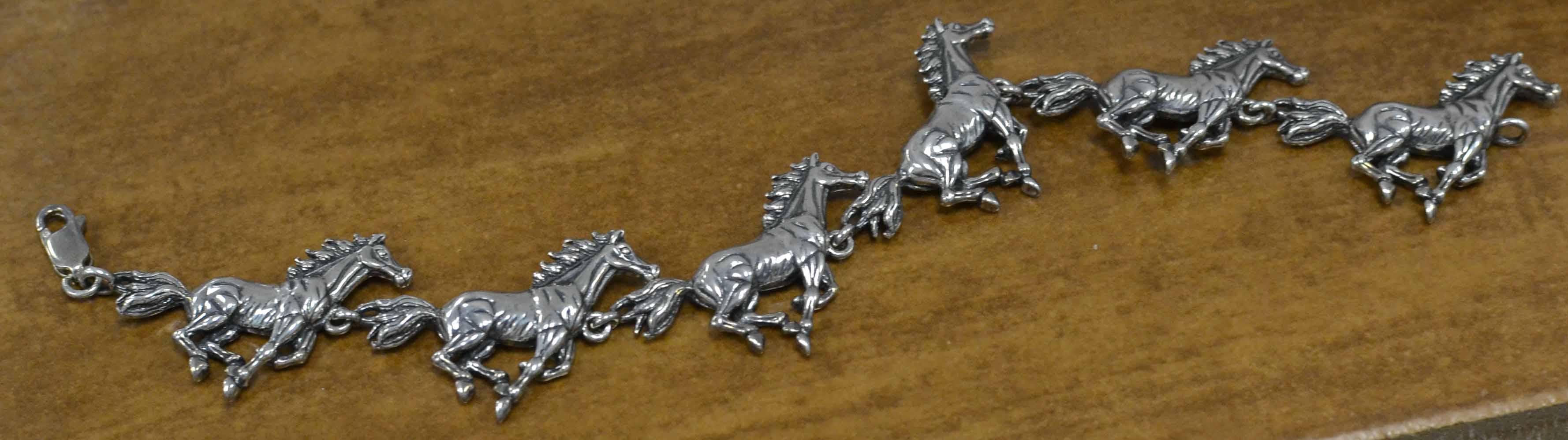 Sterling Silver Running Horses Bracelet