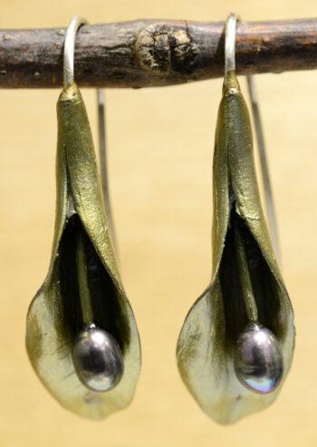 handmade Michael Michaud Hosta bloom dangle earrings