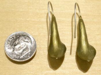 back of Michael Michaud handmade Hosta dangle earrings with dime