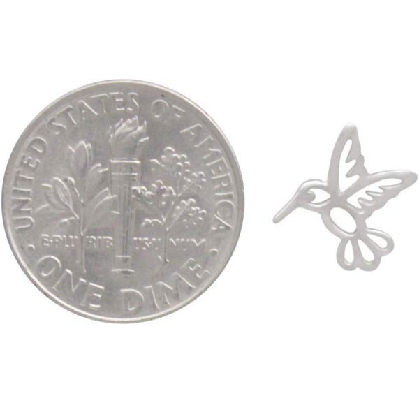 hummingbird post earrings with dime for scale