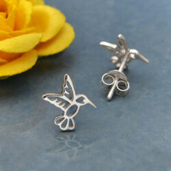 hummingbird sterling silver post earrings