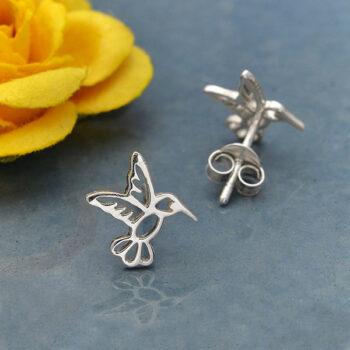 hummingbird sterling silver post earrings