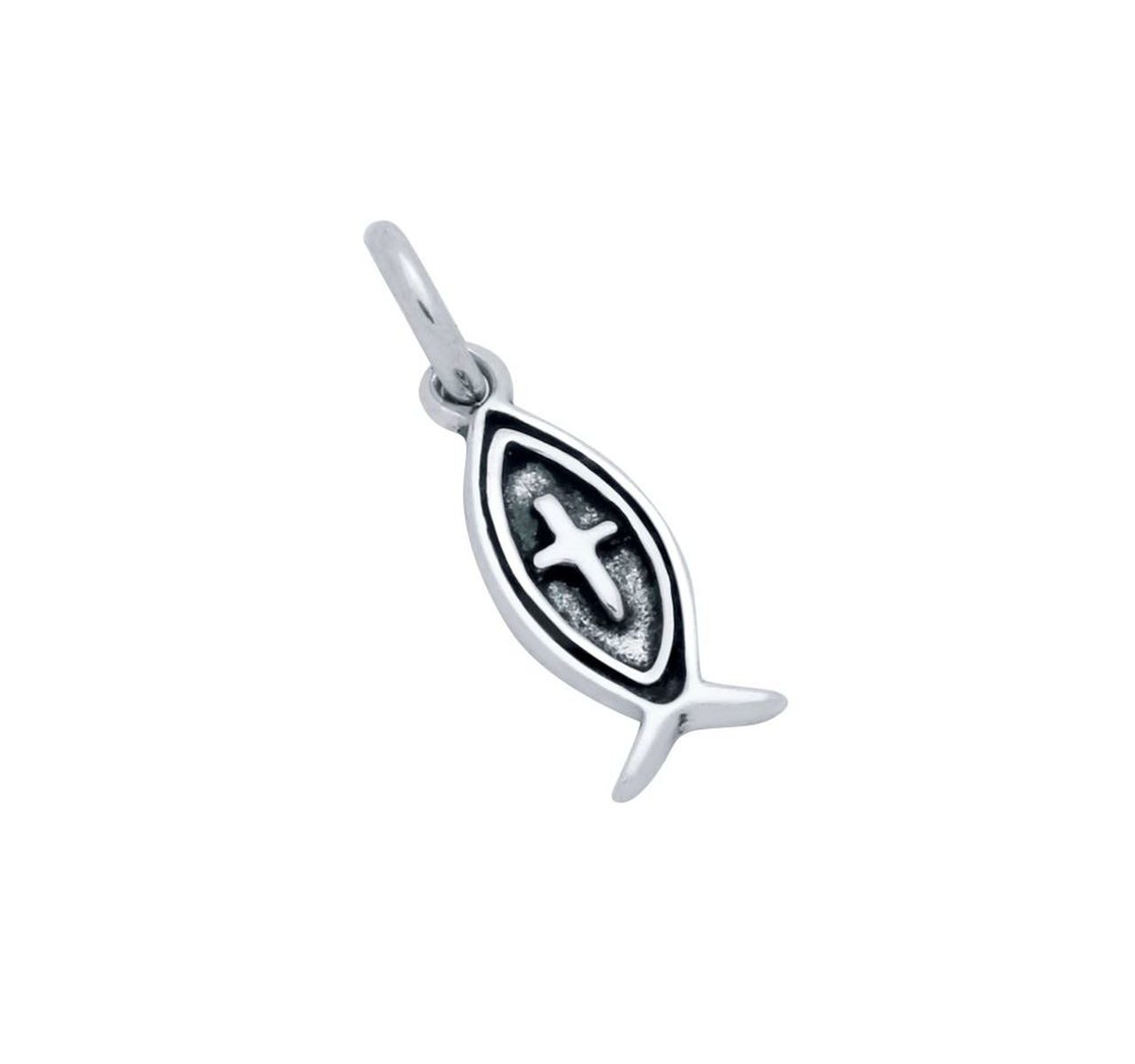Jesus fish and cross sterling silver charm