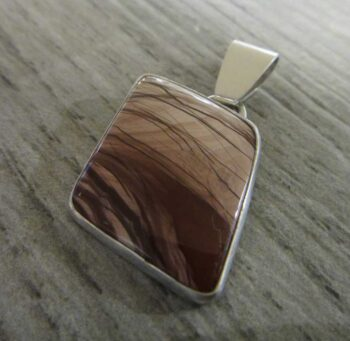 Handmade brown imperial jasper and sterling silver pendant