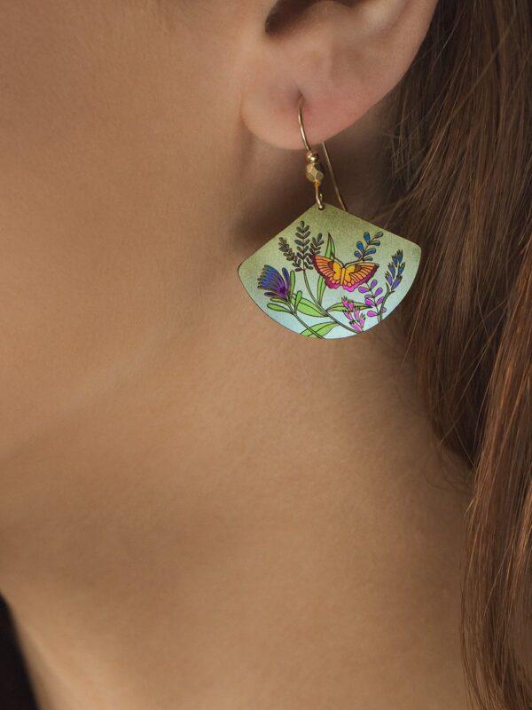 Garden Whimsy Earrings on woman