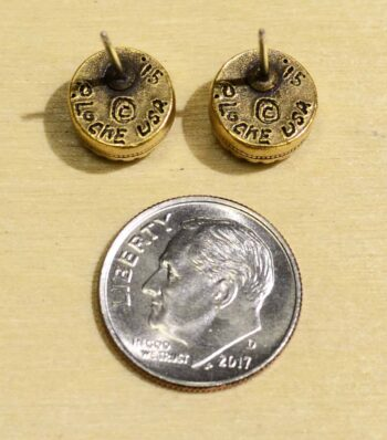 Back view of Patricia Locke Indie style goldtone stud earrings in Aqua crystal, shown with dime (not included) for scale