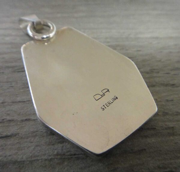 Handmade inlaid exotica jasper and sterling silver pendant back view