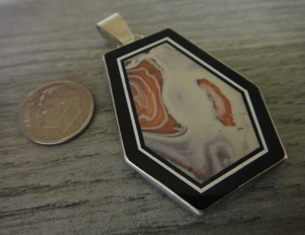 Handmade inlaid exotica jasper and sterling silver pendant