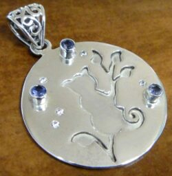 iolite and CZ sterling silver cat pendant