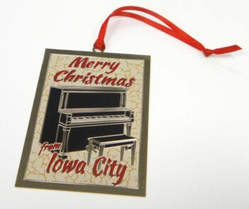 Merry Christmas from Iowa City piano ornament