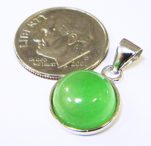 handmade green jade and sterling silver circle pendant with dime for size