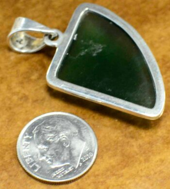 Abstract green jade sterling silver pendant back view