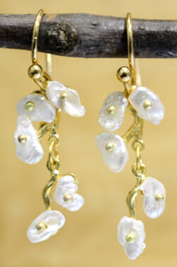 Michael Michaud Silver Seasons jasmine vine earrings with keshi pearls