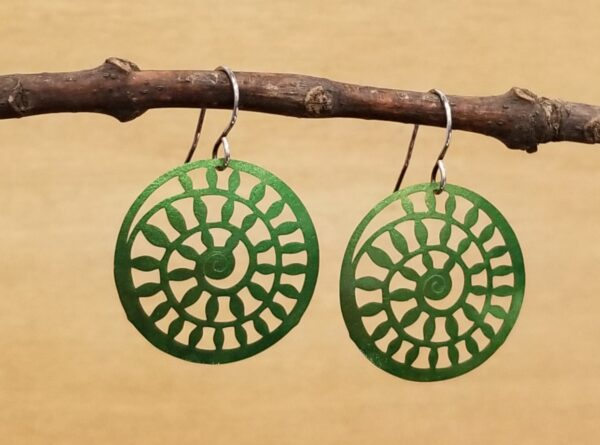 green spiral earrings