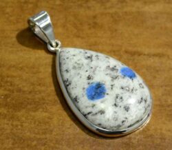 K2 Granite azurite and sterling silver pendant