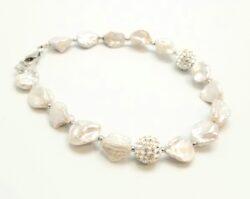 Keshi pearl, crystal, and sterling silver bracelet