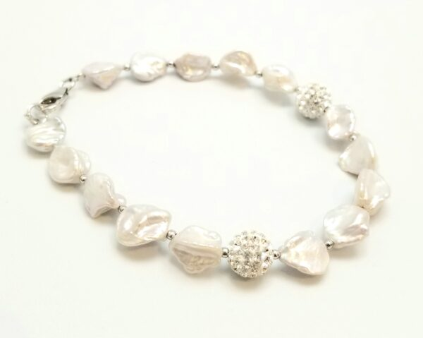 Keshi pearl, crystal, and sterling silver bracelet