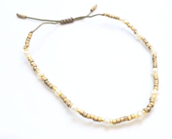 white pearl and tan seed bead adjustable bracelet