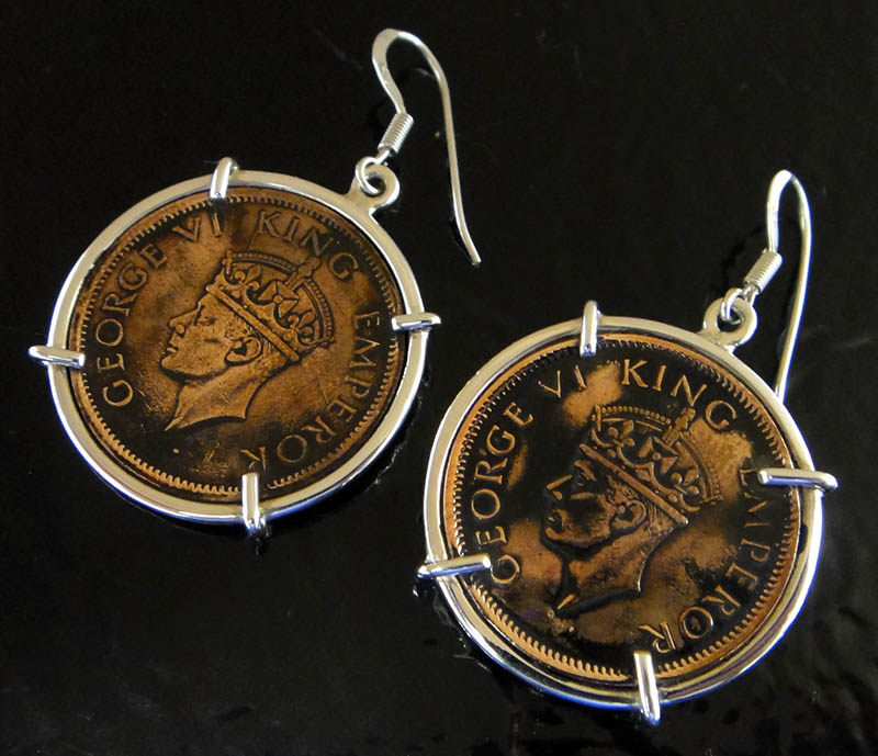handmade King George IV coin and sterling silver earrings