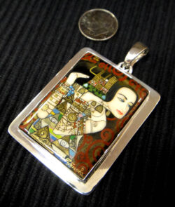 hand painted miniature reproduction pendant of Gustav Klimt's Expectation, Stoclet Frieze