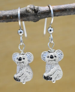 Handmade ceramic Koala bear and sterling silver earrings
