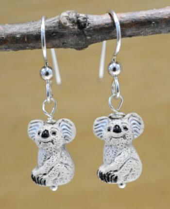Handmade ceramic Koala bear and sterling silver earrings