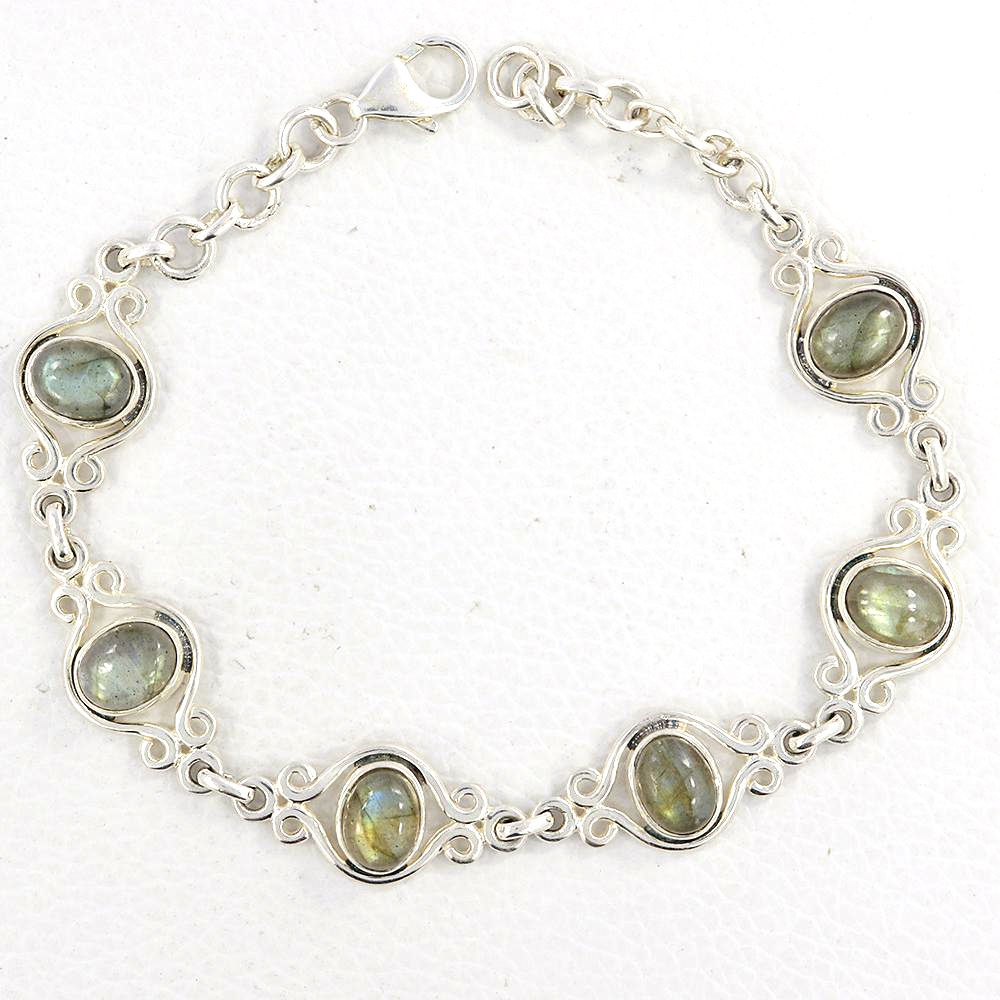 labradorite and sterling silver adjustable length handmade bracelet