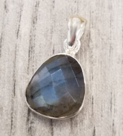 faceted labradorite and sterling silver pendant