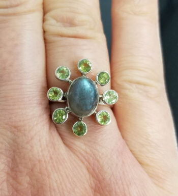 labradorite, peridot, and sterling silver ring in Size 7