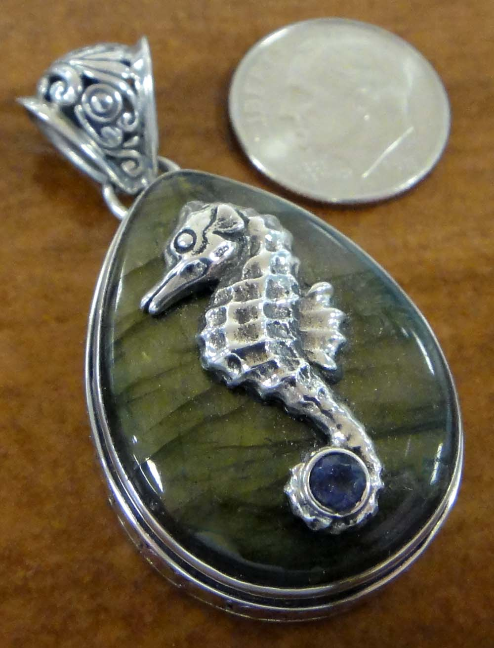 labradorite and iolite seahorse sterling silver pendant with dime for scale