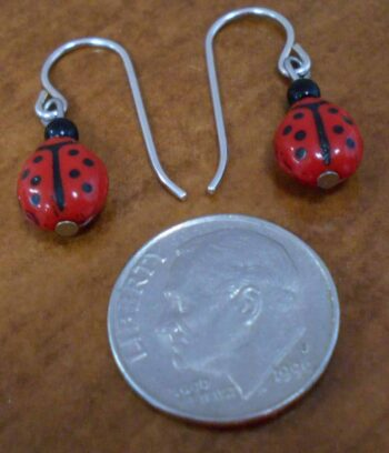 red and black ladybug bead Sienna Sky earrings with dime