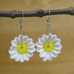 handmade lampwork glass daisy drop earrings