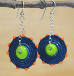 handmade lampwork glass beaded earrings