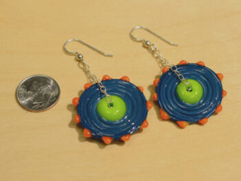 lampwork glass beaded earrings with dime