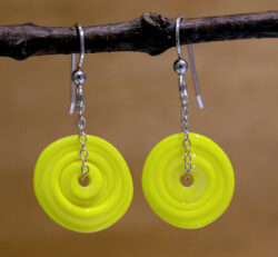 yellow lampwork glass beaded earrings
