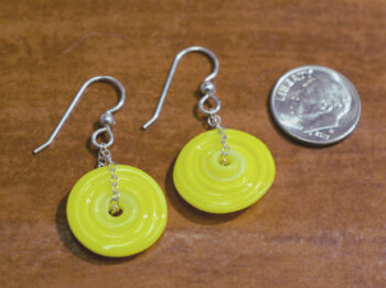 handmade lampwork glass earrings with dime