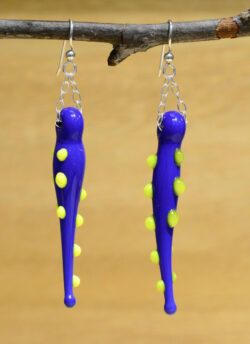 handmade lampwork glass long blue earrings