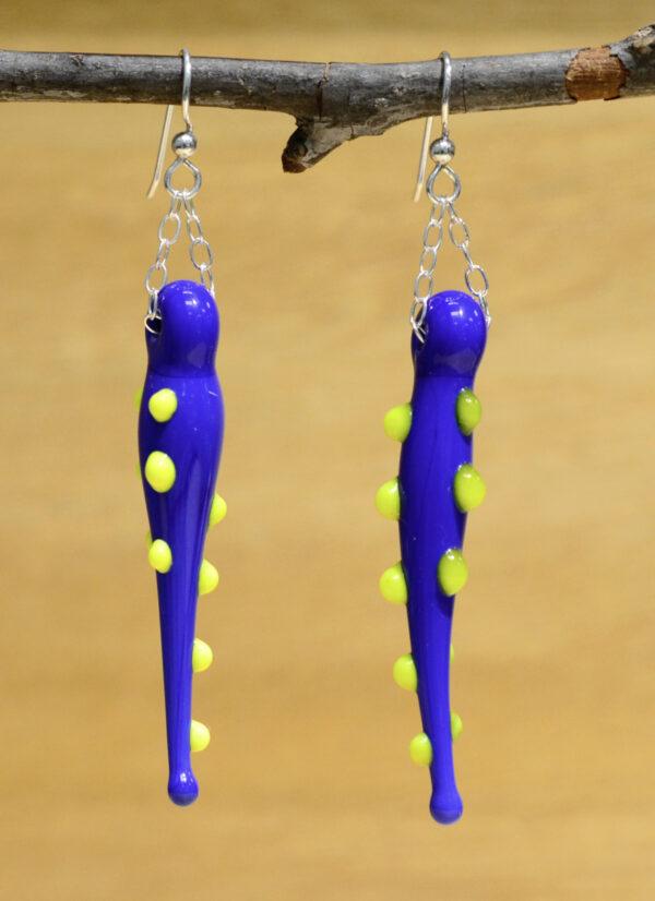 handmade lampwork glass long blue earrings