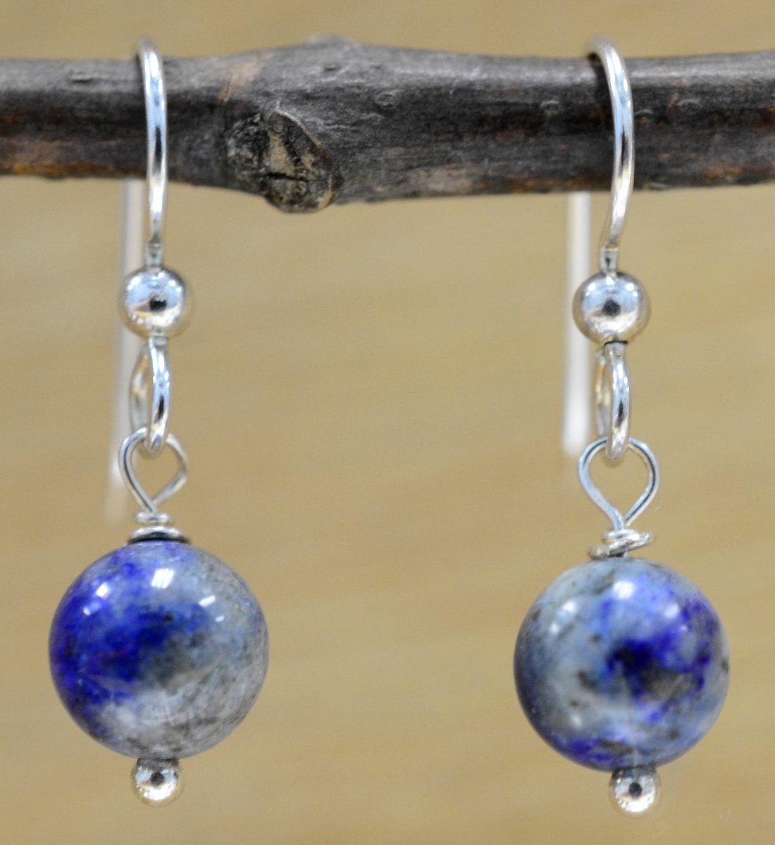 handmade Lapis Lazuli dangle beaded earrings