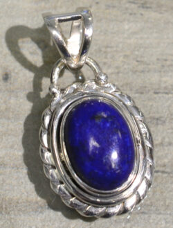 handmade lapis lazuli oval pendant with silver detail