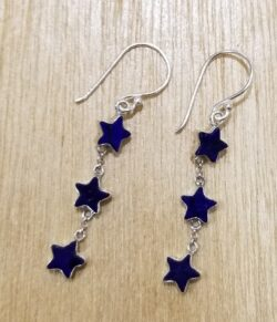 lapis lazuli star dangle earrings
