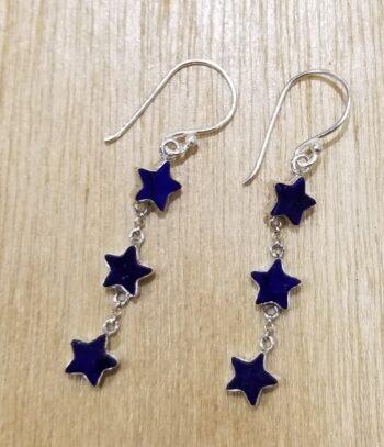 lapis lazuli star dangle earrings