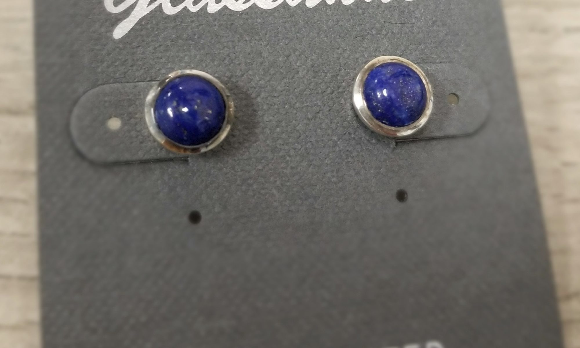 dark blue lapis lazuli and sterling silver post earrings