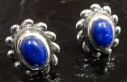 handmade lapis lazuli and sterling silver stud earrings