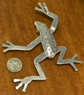 Handmade blue opal and .925 sterling silver large frog pendant back view