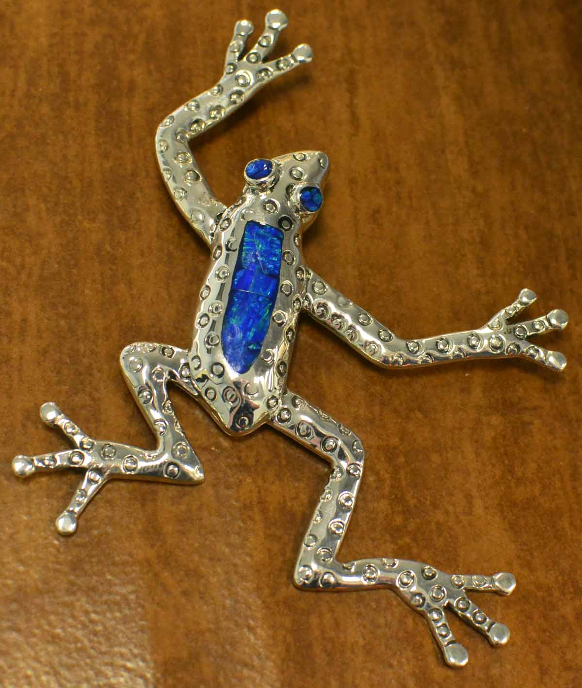 Handmade blue opal and .925 sterling silver large frog pendant