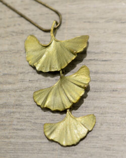 large triple ginkgo leaf necklace by Michael Michaud