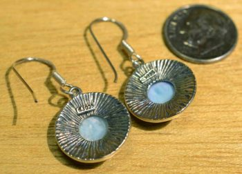 larimar and sterling silver earrings with dime for scale