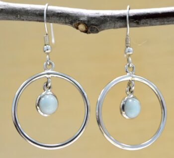 Handmade pale blue larimar and sterling silver circle earrings